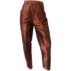 1990s Yves Saint Laurent Copper Shiny Pants