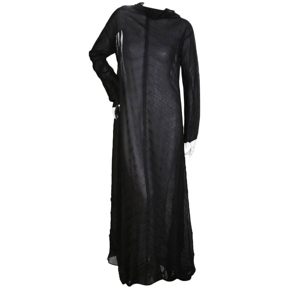 Issey Miyake Black Pleats Please Maxi Dress