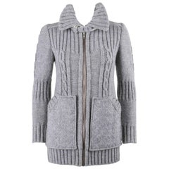 COURREGES c.1970's Gray Chunky Cable Knit Wool Zip Up Sweater Jacket
