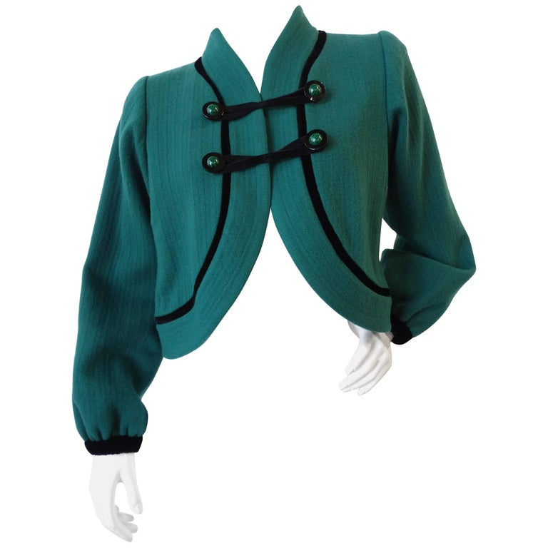 1990s Yves Saint Laurent Teal Cropped Jacket