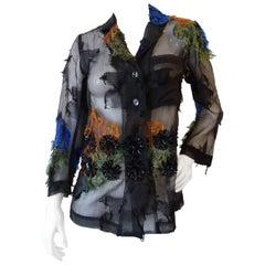 Dries Van Noten Black Sheer Embellished Top