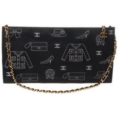 Vintage Chanel navy envelope pouch with CC graphic in contrasting white