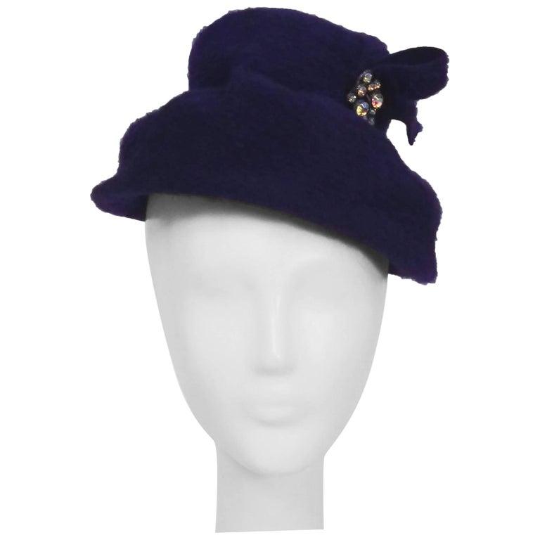 1960s Purple Felt Hat w/ Rhinestone Pin