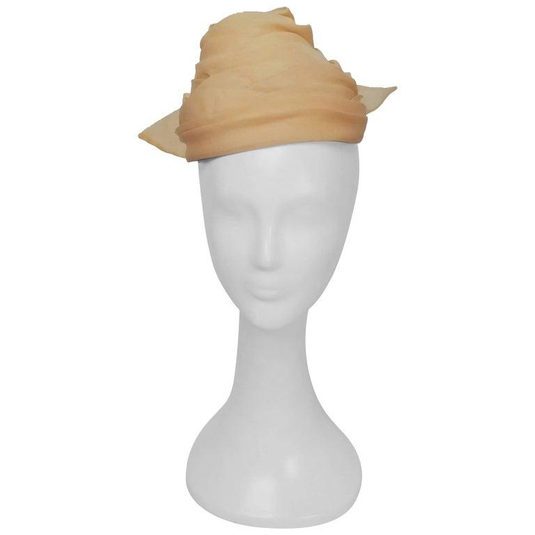 1960s Yellow Organza Turban Hat