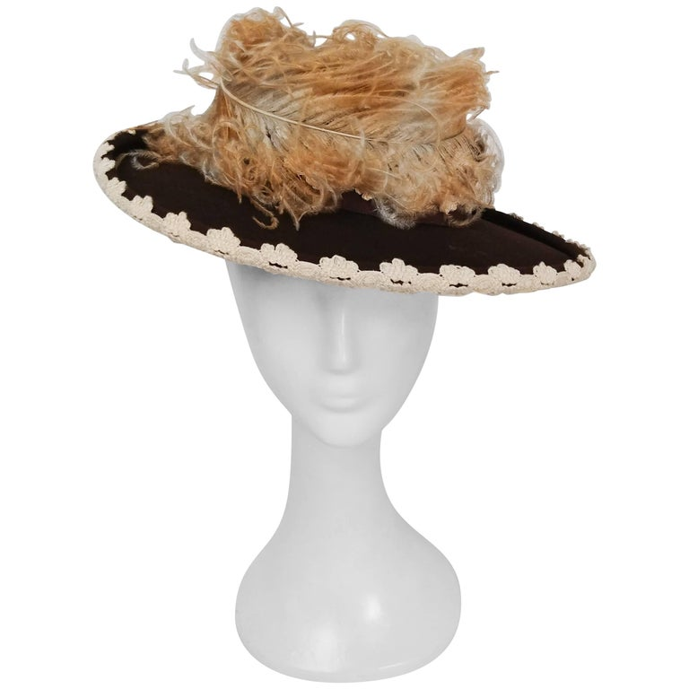 1940s Brown Felt Hat w/ Ombre Curled Feather