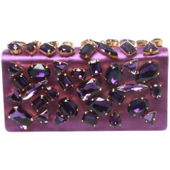 Prada Crystal Embellished Satin Clutch