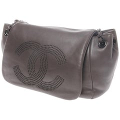 Timeless Accordion Flap Charcoal Grey Satchel