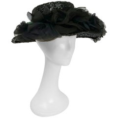 1980s Wide Brim Raffia Hat w/ Silk Flowers