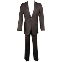 Men's PRADA 38 Regular 31x32 Brown Wool Notch Lapel Two Button Suit
