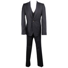 Men's YVES SAINT LAURENT 38 Regular Navy Pinstripe Wool Notch Lapel Three-Piece