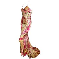 Roberto Cavalli Dress with Aubrey Beardsley's Salome Peacock Print Just Cavalli