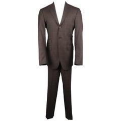 Men's ETRO 40 Long Brown & Red Window Pane Wool Notch Lapel Suit