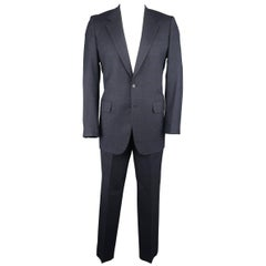 Men's BRIONI 40 Regular Navy Glenplaid Wool Notch Lapel 35x33 Suit