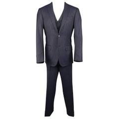 Men's ERMENEGILDO ZEGNA Suit - 40 Regular Navy Wool Pinstripe 3 Piece Suit