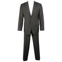 Men's PRADA 40 Regular Charcoal Solid Wool / Mohair 32 30 2 Piece Suit