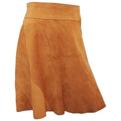 1970s Leather Suede Spiral Mini Skirt