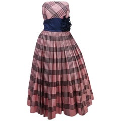 1950s Emma Domb Pink Plaid Party Dress