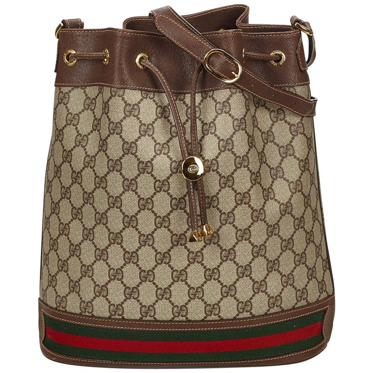 e073422eaf9 Gucci Brown Guccissima Web Bucket Bag For Sale at 1stdibs