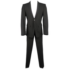 Men's EMPORIO ARMANI 40 Regular Black Wool Blend Peak Lapel 32x33 Suit