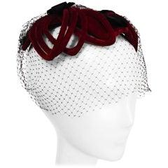 1950s Red Velvet Cocktail Hat w/ Veil