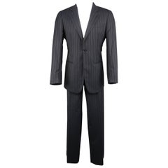Men's GIORGIO ARMANI 40 Regular Navy Stripe Wool Single Button Notch Lapel Suit