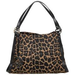 Fendi Brown Leopard Canvas Handbag