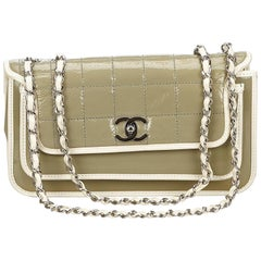 Chanel Green	Patent Leather Flap Bag