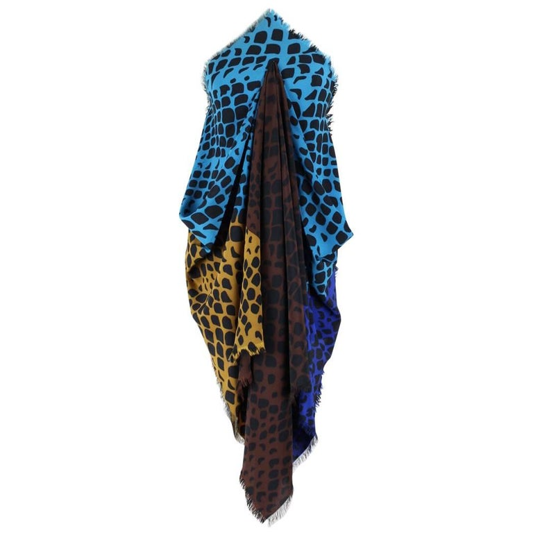 Yves Saint Laurent YSL Large Spotted Blue Brown Curry Silk Scarf / Wrap, 1980s