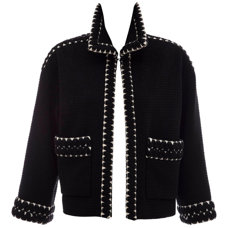 Chanel Black Tweed Jacket With Embroidered Trim, Circa 1980's
