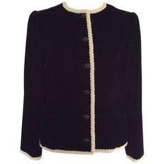 Vintage 1980's Emanuel Ungaro classic black velvet jacket