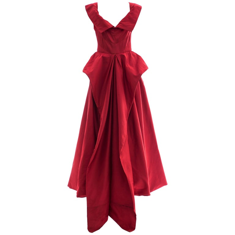 Christian Dior New York Demi Couture Silk Scarlet Evening Dress, Circa 1950s For Sale