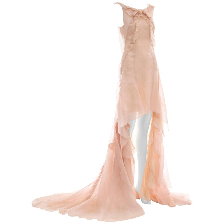 Olivier Theyskens for Nina Ricci Blush Silk Nylon Evening Dress, Spring 2009 For Sale