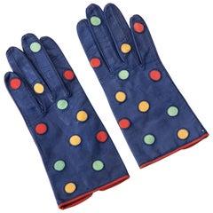Escada Margaretha Ley Polka Dot Leather Gloves, Circa 1980's