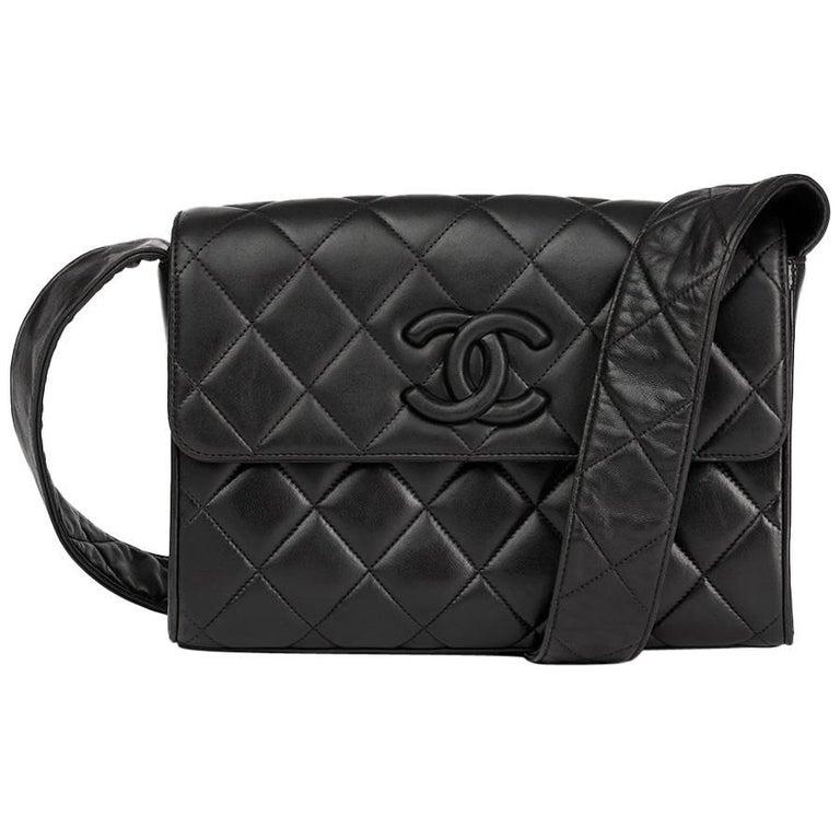 102a90b38b11 Chanel Black Quilted Lambskin Vintage Leather Logo Shoulder Flap Bag For  Sale.