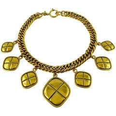 Chanel Vintage Gold Toned Quilted Charm Choker Necklace