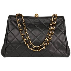 Chanel Black Quilted Caviar Leather Vintage Timeless Frame Bag