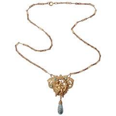 Czech Art Nouveau Gold Tone Cupid Turquoise Stone Pendant Necklace