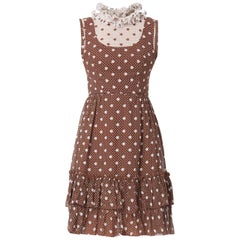 Brown & white polka dot sleeveless dress, circa 1968