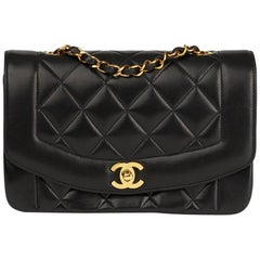 Chanel Black Quilted Lambskin Vintage Small Diana Classic Single Flap Bag