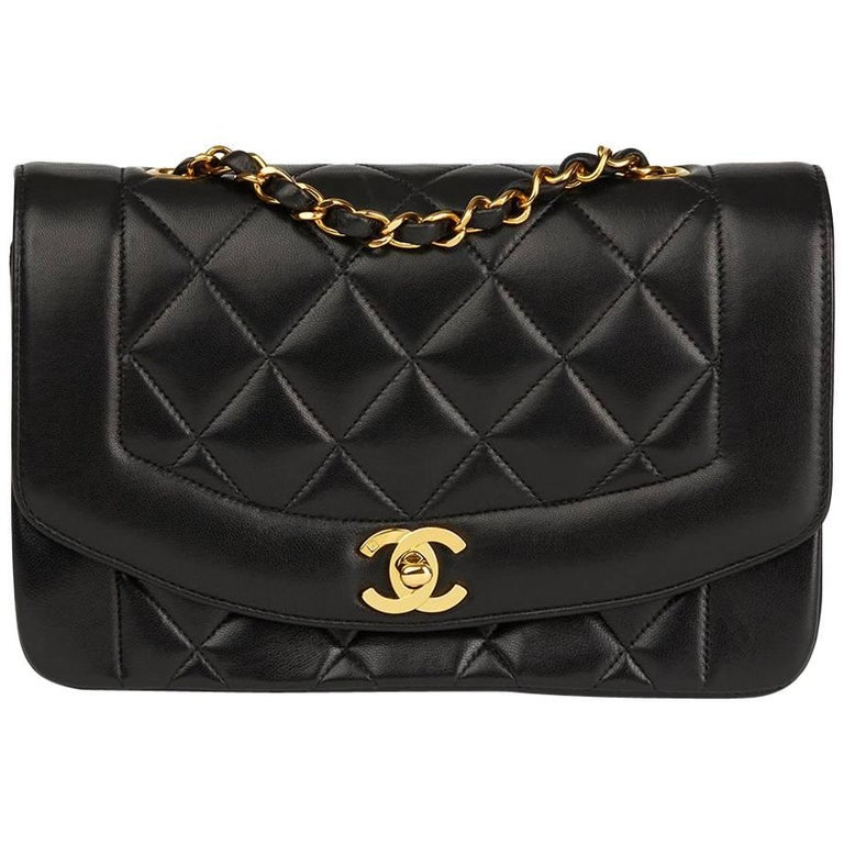 04490f70feed Chanel Black Quilted Lambskin Vintage Small Diana Classic Single Flap Bag  For Sale.
