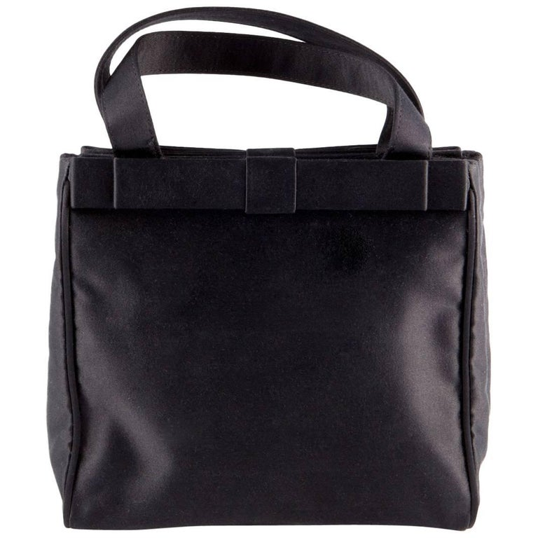 Prada Black Satin Evening Tote Bag For Sale