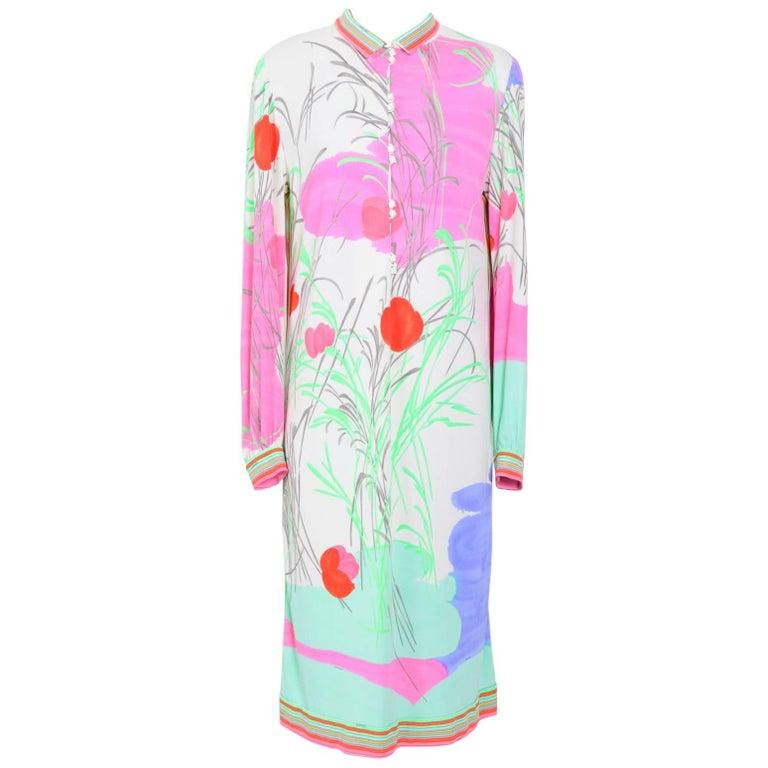 Leonard silk signed pastel flower print dress