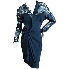 Thierry Mugler Sexy Vintage Sheer Lace Black Belted Wrap Dress