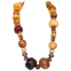 A 1970s Vintage Amber, Bone & Wood Beaded Necklace