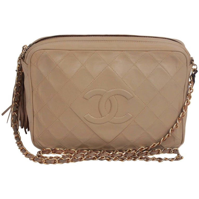 CHANEL Vintage Taupe Quilted Leather CC LOGO Camera Bag with Tassel