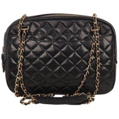 Chanel Vintage Black Quilted Leather Large Camera Bag