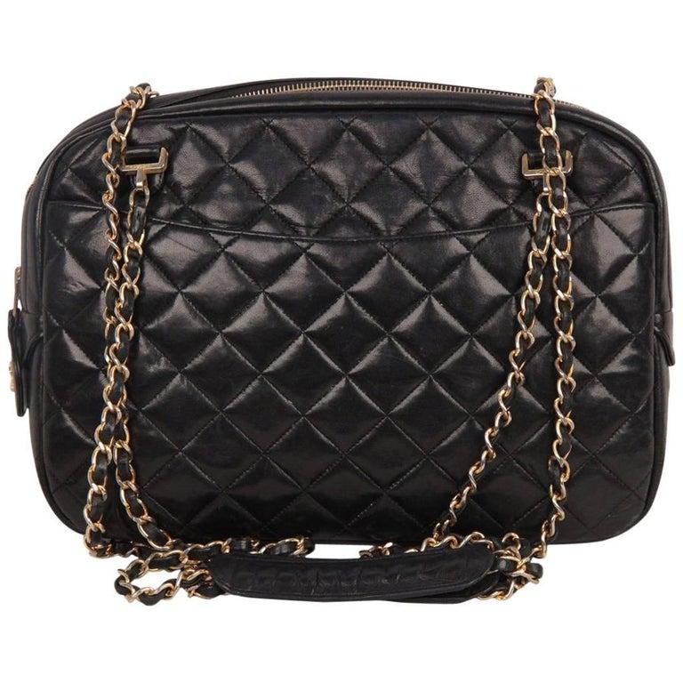 Chanel Vintage Black Quilted Leather Large Camera Bag