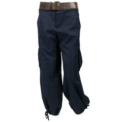 Jean Paul Gaultier Navy Blue Nylon Cargo Pants With Detachable Belt, 1990s