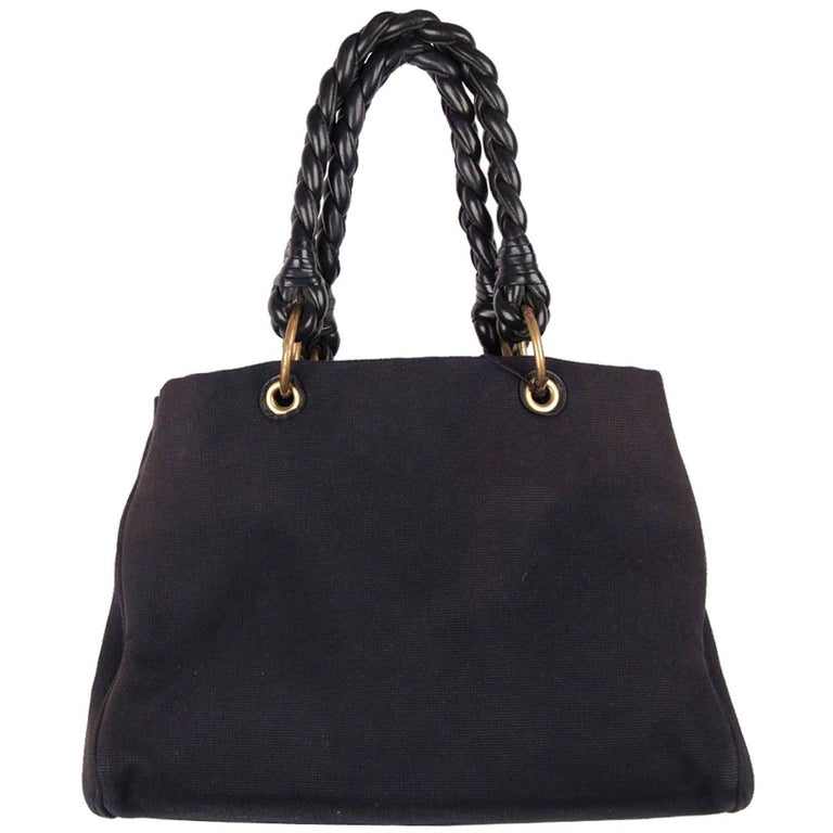BOTTEGA VENETA Black Canvas SARDEGNA TOTE 2009 Cruise Collection