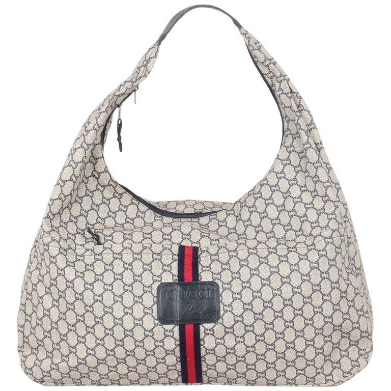 cd96f0b8e17f61 Gucci Plus Vintage Blue Monogram Extra Large Hobo Bag For Sale at ...